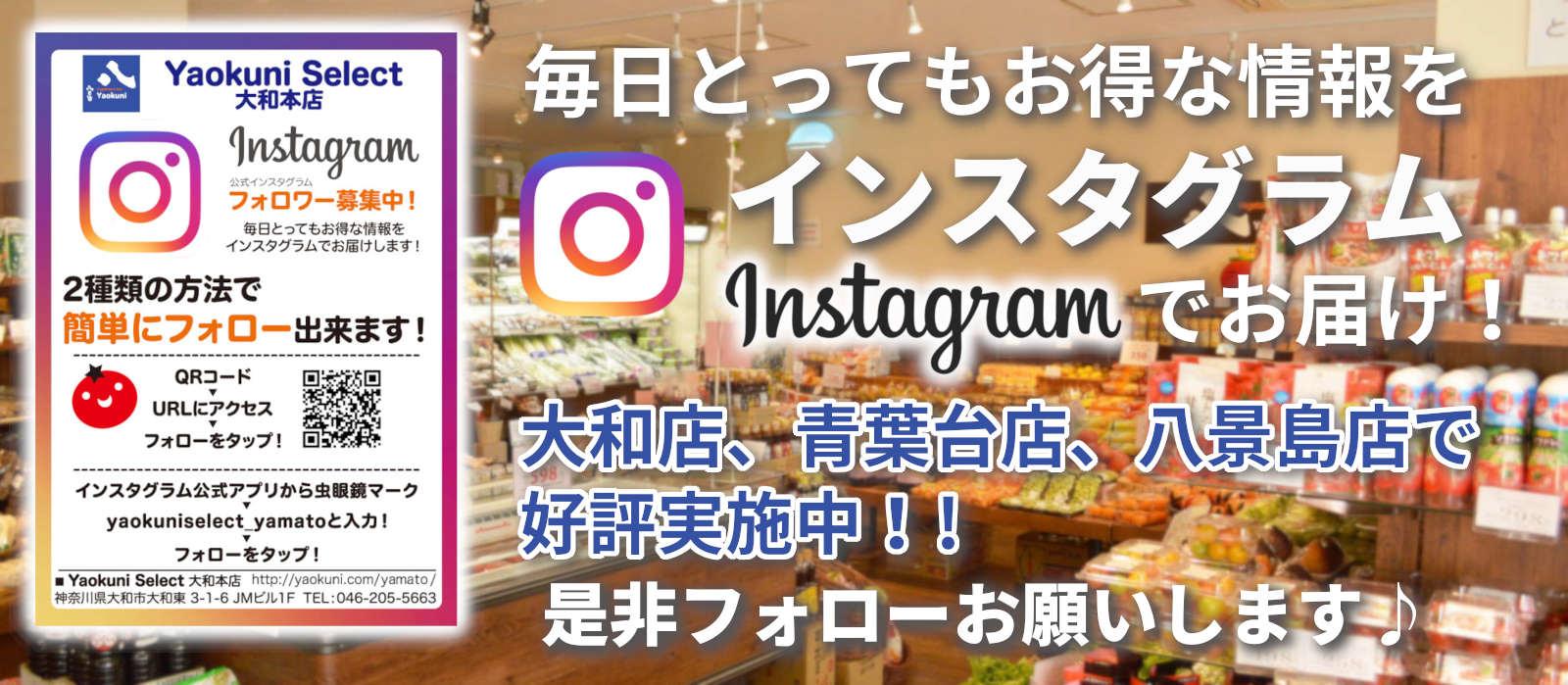 八百国 大和店、青葉台店、八景島店のインスタグラムフォローお願いします!